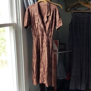 Vintage Silk Wrap Dress with Flaws